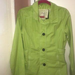 Eddie Bauer light green women's trench coat.
